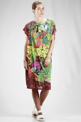 knee length tunic in rayon gauze, polyester and parts in cotton with 'Gauguin' pattern  - 333