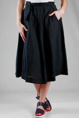 wide longuette skirt in wrinkled linen cloth  - 97