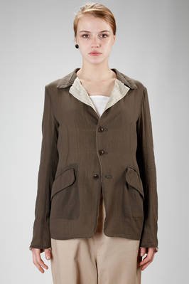 hip length jacket in cotton gauze with stripped cupro lining  - 97