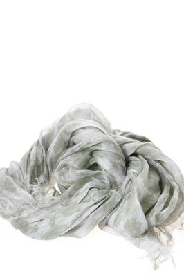 wide scarf in light linen gauze with tone on tone foliage pattern  - 97