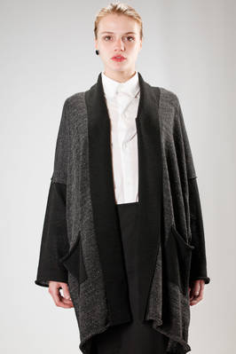 long and wide cardigan in linen, polyester and silk cloth  - 73