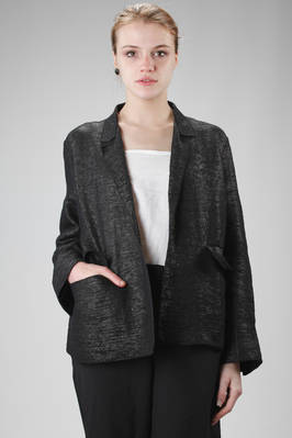 hip-length jacket in cotton, polyurethane and polyamide with a soft raffia effect  - 227