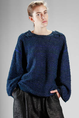 hip-length sweater in polyamide and cotton cloth with bouclé effect  - 227