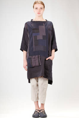 knee length tunic in patchwork of vintage fabric of cotton, silk and linen  - 293