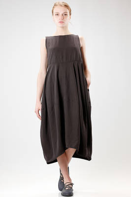 wide longuette dress in linen cloth and washed silk  - 293