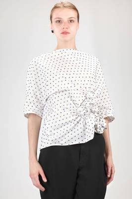 hip length shirt in cotton poplin with fabric polka dots  - 331