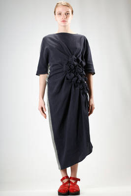 long and asymmetric dress in cotton and linen mat in two different colour  - 331