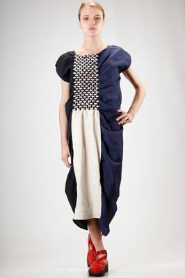 asymmetric longuette dress in linen and wool cloth in three different colors with rectangular knots grille  - 331