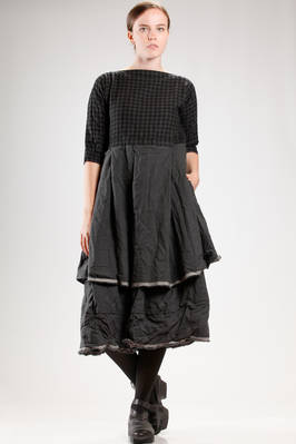 long dress with bodice in woolen vichy and a doubled citizen cotton skirt on two staggered layers  - 195