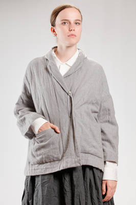 wide hip length jacket in really soft gauze of mélange washed cashmere  - 195