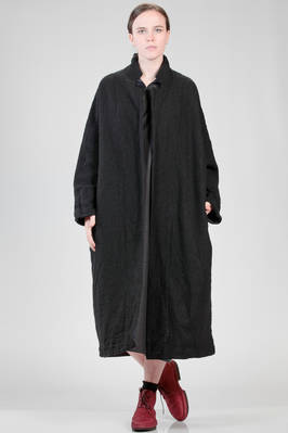 wide and long coat in embroidered double wool, bicolour in/out  - 195