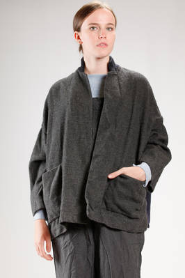 long and wide jacket made of parts in different washed wool  - 195