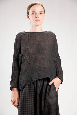 wide hip length shirt in washed and embossed woolen gauze  - 195