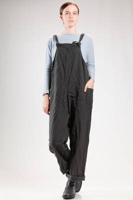 wide trousers dungarees in washed and wrinkled citizen cotton canvas  - 195
