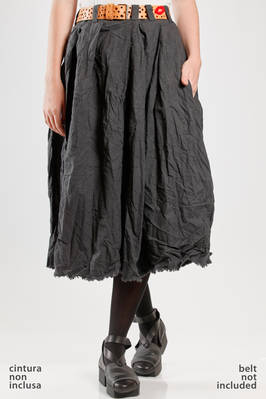 long and wide pleated skirt in washed and wrinkled citizen cotton cloth  - 195