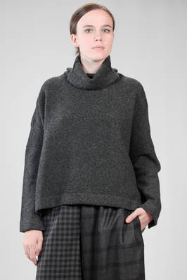 hip length sweater in cashmere melange knit  - 195