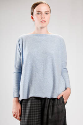 hip length sweater in melange cashmere knitting  - 195