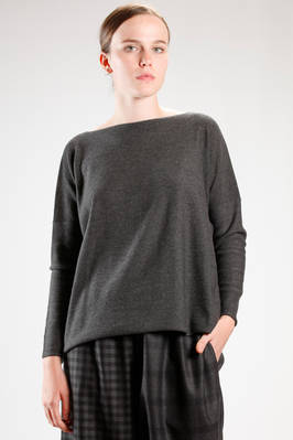 hip length sweater in melange merinos wool knitting  - 195