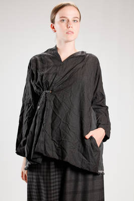 long and wide shirt with one side in wrinkled and washed citizen cotton and the other in woolen vichy  - 195