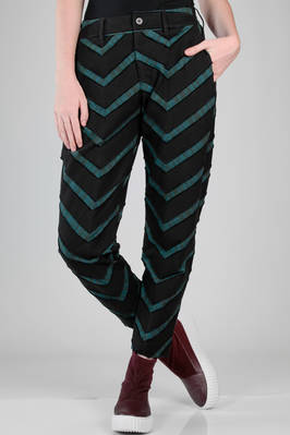 slim fit trousers in cotton, polyurethane and nylon heavy canvas with zigzag lines  - 47