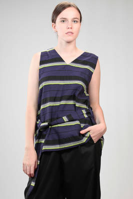 waistcoat in linen, wool and polyester cloth with multicolour horizontal line  - 47