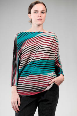 hip length sweater in polyester baked-stretch plissé with multicolour horizontal lines  - 47