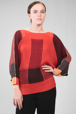 hip length sweater in honeycomb effect polyester plissé with multicolor graphic print  - 47