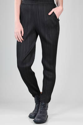 slim fit and straight trousers in polyester plissé with vertical narrow pleats  - 111