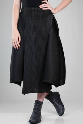 longuette skirt in polyester plissé with vertical narrow pleat  - 111