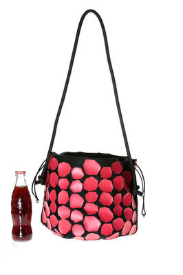 round bucket bag of medium dimension in polyester, polypropylene and nylon canvas with contrasting color irregular octagons  - 111