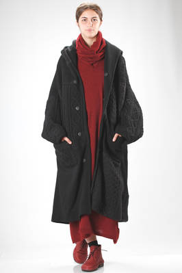 wide and long coat made with a patchwork of wool woven fabric and unique water repellent knitwear  - 97