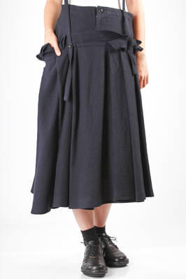 wide and asymmetric longuette skirt in really soft wool gauze  - 97