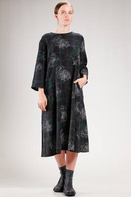 calf length dress in wool tartan, cotton and linen with flowers stamp  - 121
