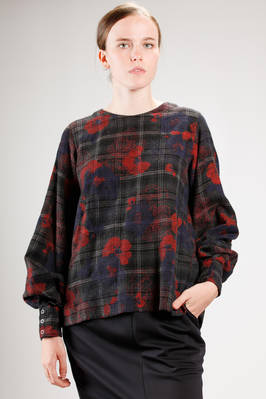 hip length sweater wool tartan, cotton and linen with flowers stamp  - 121