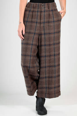 wide and long trousers (palazzo pants) in wool and nylon tartar, cupro lined  - 121