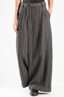 wide and long trousers (palazzo pants) in heavy pinstripe of wool and linen  - 121