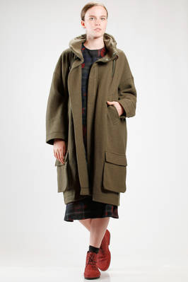 calf length coat in wool and nylon jersey, cupro lined  - 121