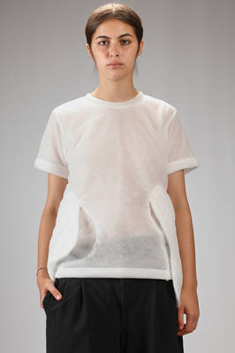 hip-length 'sculpture' t-shirt in tone on tone wadding padded nylon tulle  - 48