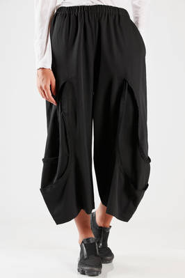 wide trousers in wool gabardine with raw cut gashes  - 48