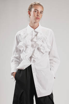 long and white shirt in poplin cotton with stylized cylinders motif on the front  - 48