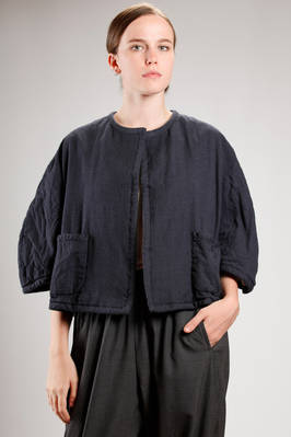hip length jacket in male kimono fabric of washed wool and silk  - 157