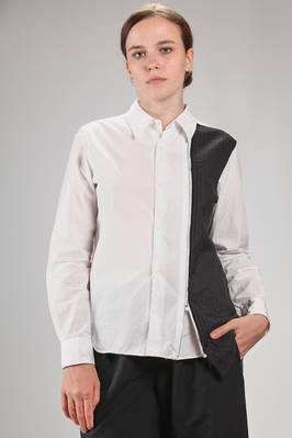 classic man shirt in cotton poplin with an insert in pinstripe washed wool cloth  - 157