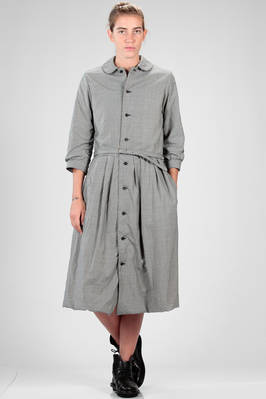 longuette dress in washed and wrinkled micro-check wool cloth, lined in washed cotton  - 157