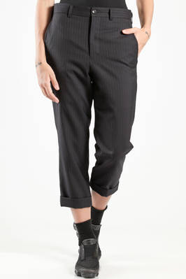 slim fit trousers in wool gabardine, cupro lined  - 157