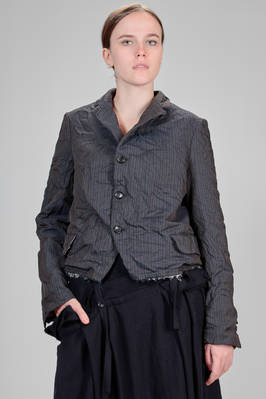 man short jacket in polyester pinstripe, treated and creased with techno effect slightly iridescent  - 157