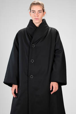 long and wide padded jacket in polyester and woolen canvas, polyester padded  - 157