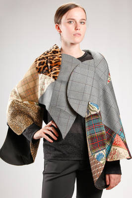 'sculpture' cape made with a patchwork of different fabrics and patterns - JUNYA WATANABE