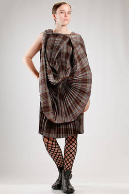 asymmetric shirt shaped dress in pleated polyester tartan  - 74