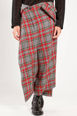 long and asymmetric divided skirt in nylon and wool tartan  - 74