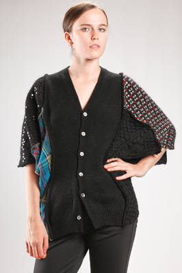 asymmetric cardigan in patchwork knit with different wool, mohair and nylon processing and parts with paillettes  - 74